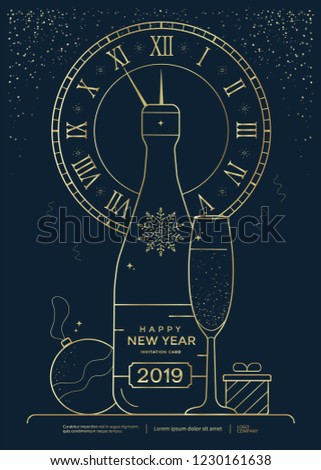 New Year greeting card design with stylized bottle of champagne, wineglass and clock. Christmas golden line illustration. Vector template