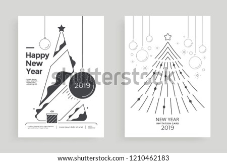 New Year greeting card design with stylized christmas tree and decorations. Vector holiday line illustration