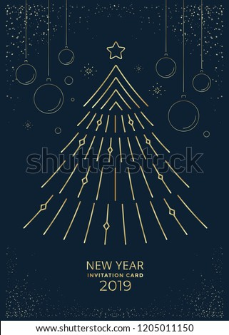 New Year greeting card design with stylized christmas tree and decorations. Vector line illustration