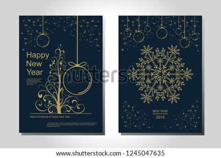 New Year greeting card design with stylized Christmas tree, snowflakes and decorations. Vector golden line illustration template. #1245047635