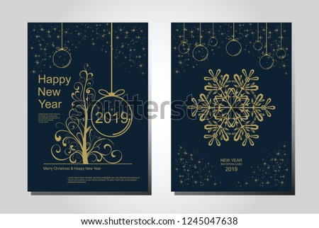 New Year greeting card design with stylized Christmas tree, snowflakes and decorations. Vector golden line illustration template. #1245047638