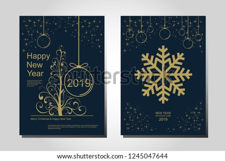 New Year greeting card design with stylized Christmas tree, snowflakes and decorations. Vector golden line illustration template. #1245047644