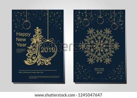 New Year greeting card design with stylized Christmas tree, snowflakes and decorations. Vector golden line illustration template. #1245047647