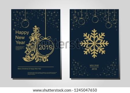 New Year greeting card design with stylized Christmas tree, snowflakes and decorations. Vector golden line illustration template. #1245047650