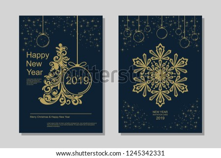 New Year greeting card design with stylized Christmas tree, snowflakes and decorations. Vector golden line template illustration #1245342331