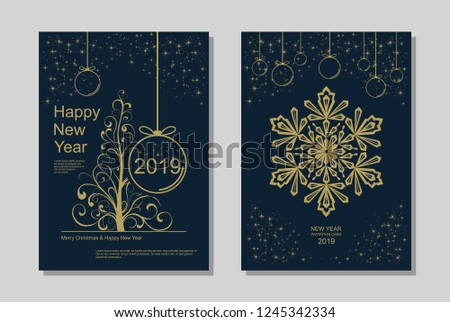 New Year greeting card design with stylized Christmas tree, snowflakes and decorations. Vector golden line template illustration #1245342334