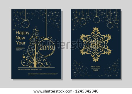 New Year greeting card design with stylized Christmas tree, snowflakes and decorations. Vector golden line template illustration #1245342340