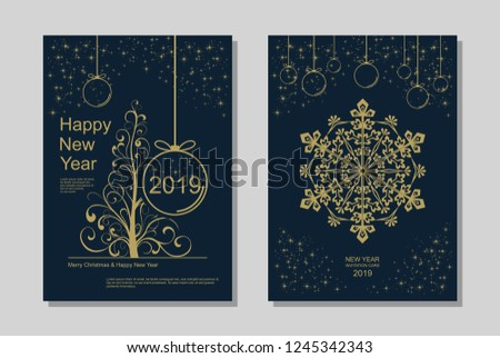 New Year greeting card design with stylized Christmas tree, snowflakes and decorations. Vector golden line template illustration #1245342343