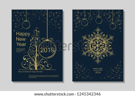 New Year greeting card design with stylized Christmas tree, snowflakes and decorations. Vector golden line template illustration #1245342346