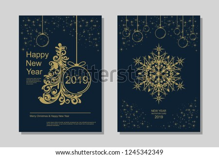 New Year greeting card design with stylized Christmas tree, snowflakes and decorations. Vector golden line template illustration #1245342349