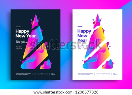 New Year greeting card design with stylized colorful christmas tree. Vector gradient illustration