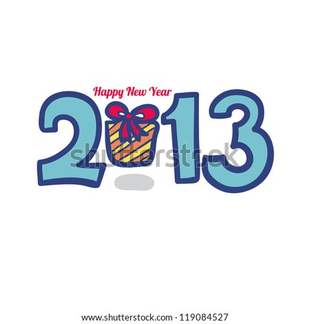 New 2013 year greeting card made in origami style, vector illustration, lucky 2013, happy new year. Happy new year 2013. With Gift.