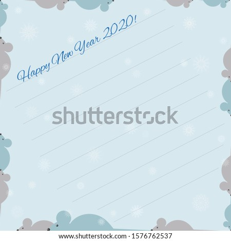 New Year greeting card on a blue background, with snowflakes and mice Use this to write greetings and wishes. Vector illustration