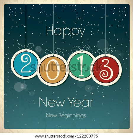 New Year Greeting Card with Baubles