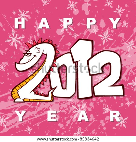 New year greeting card with cartoon dragon on a grunge-background. Vector illustration.