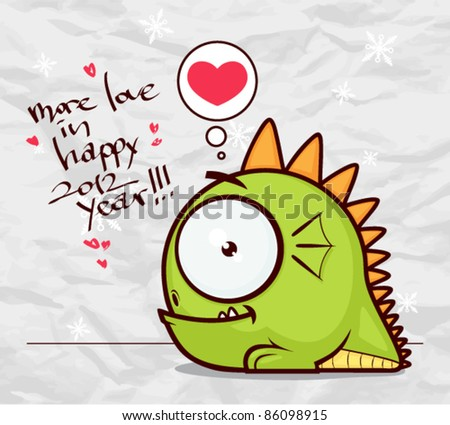 New year greeting card with cartoon dragon on a paper-background Vector illustration.
