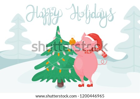 New Year greeting card with funny pig. Cute pig with Christmas tree and hand drawn lettering. Symbol of 2019 on the Chinese calendar. Vector illustration. #1200446965