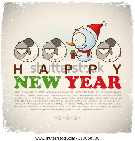 New Year greeting card with snowman and sheep. Vector illustration