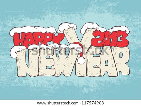 new year greeting design with words Happy New Year 2013 and santa hat and snowdrifts. colorful version. vector illustration.