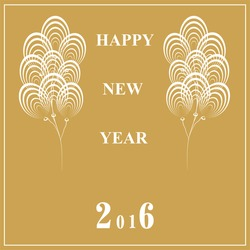 New Year greeting with white flying balloons on a gold background