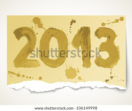 New year 2013 grunge torn paper. Vector illustration