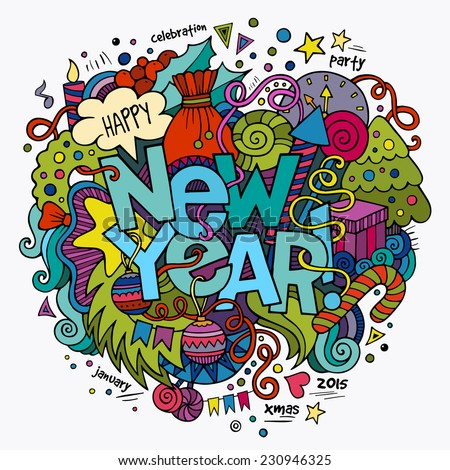 New year hand lettering and doodles elements background. Vector illustration