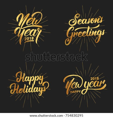 New Year. Happy New Year 2018 hand lettering labels set with gold shiny texture. Hand drawn logo for New Year card, poster, design etc