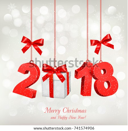 New Year Holiday background with a 2018 and a gift box. Vector.