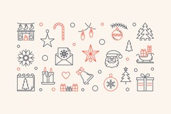 New Year horizontal vector illustration or banner with creative outline design
