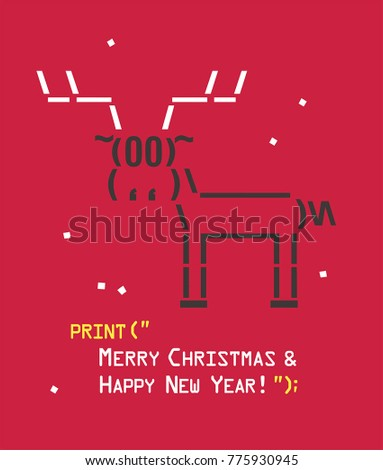 New Year icon emoticon with a deer. Text: Happy Christmas and Happy New Year! Stock fotó ©