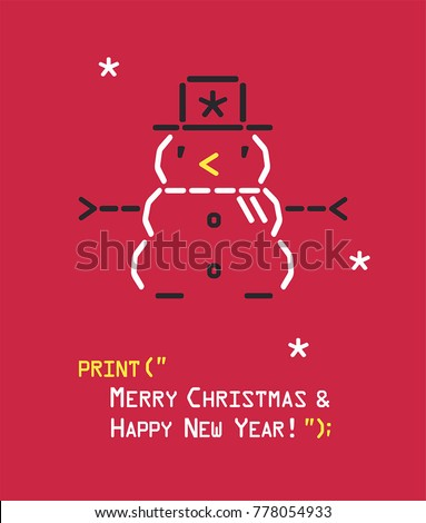 New Year icon emoticon with a snowman. Text: Happy Christmas and Happy New Year! Stock fotó ©