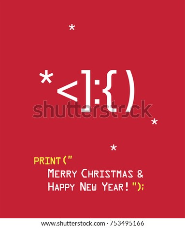 New Year icon Emoticon with Santa Claus face. Text: Merry Christmas and Happy New Year! Stock fotó ©