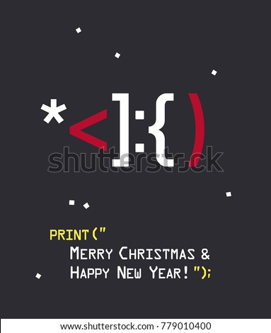 New Year icon of emotion with Santa Claus. Text: Merry Christmas and a Happy New Year! Stock fotó ©
