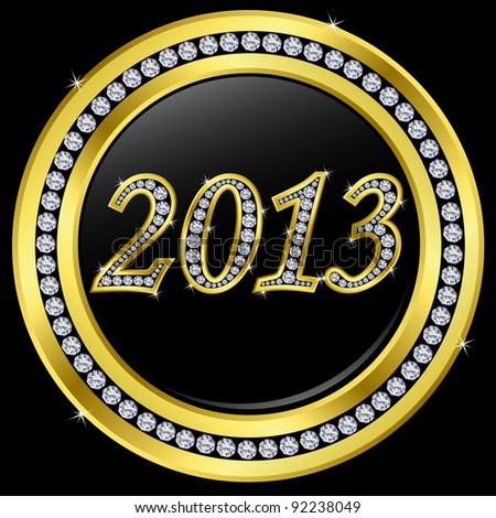 New year 2013 icon with diamonds, vector
