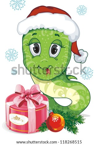 New Year Illustraiton of comical snakes. Clipart vector illustration.