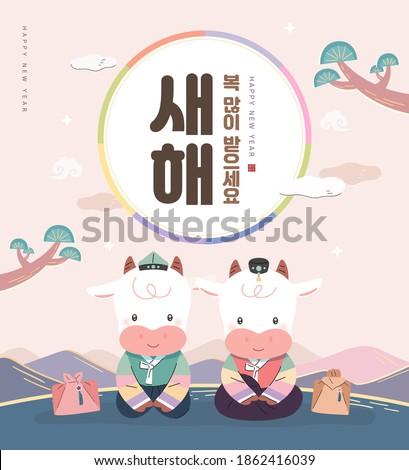 "New Year illustration. New Year's Day greeting. Korean Translation : ""Happy New Year"""