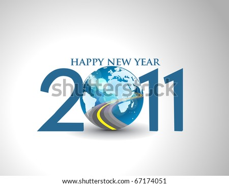 new year 2011 in colorful background design. Vector illustration