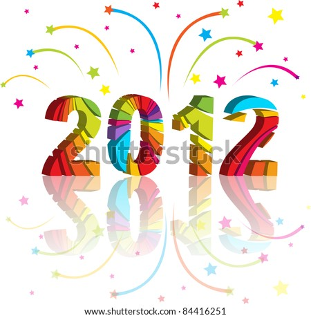 new year 2012 in colorful