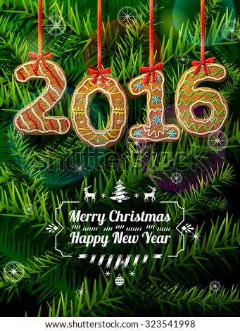 new year 2016 in shape of