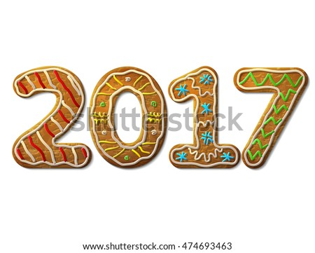 New Year 2017 in shape of gingerbread isolated on white. Year number as cookies. Vector design element for new years day, christmas, winter holiday, cooking, new years eve, food, silvester, etc