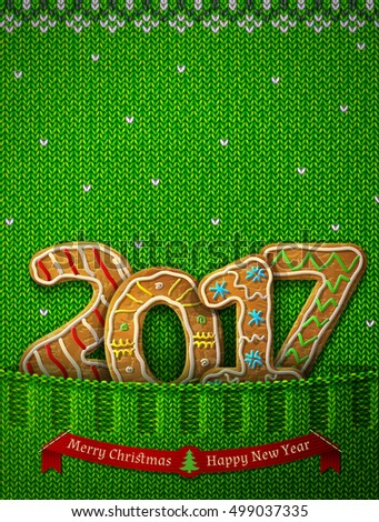 New Year 2017 in shape of gingerbreads in knitted pocket. Jumper fragment with year number like cookies. Vector illustration for new years day, christmas, cooking, winter holiday, food, silvester, etc