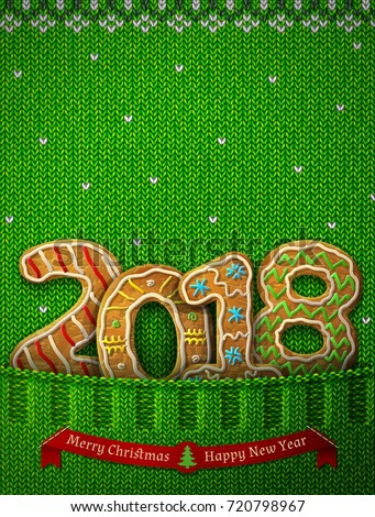 New Year 2018 in shape of gingerbreads in knitted pocket. Jumper fragment with year number like cookies. Vector illustration for new years day, christmas, cooking, winter holiday, food, silvester, etc