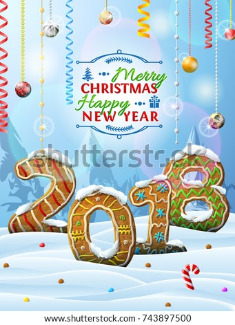 New Year 2018 in shape of gingerbreads in snow. Winter landscape with cookies, christmas decoration, congratulation. Vector image for christmas, new years day, cooking, winter holiday, food, silvester
