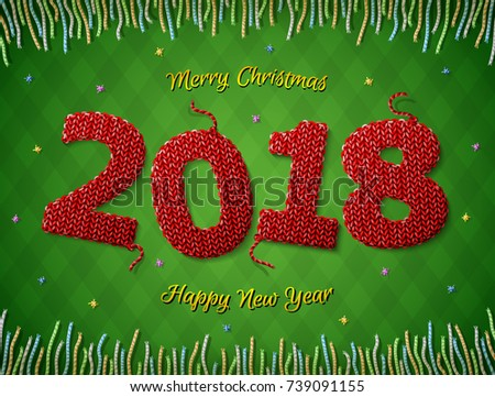 New Year 2018 in shape of knitted fabric on checkered background. Christmas wishes surrounded by colored threads. Vector image for new years day, christmas, winter holiday, new years eve, silvester
