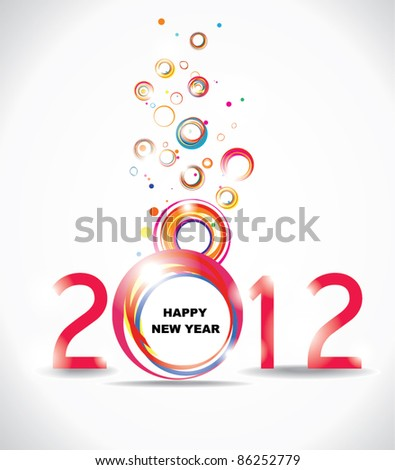 New year 2012 in white background. Abstract poster
