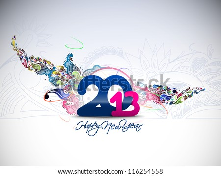 new year 2013 in white background Vector illustration