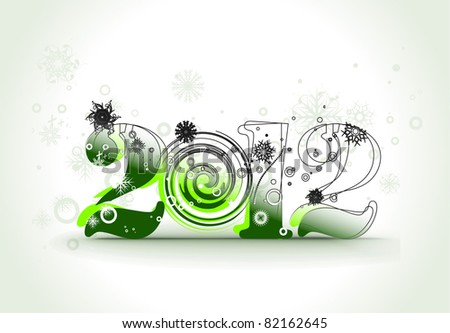 new year 2012 in white background. Vector illustration