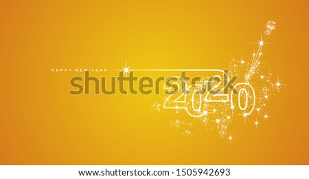 New Year 2020 line design firework champagne gold shining white yellow vector