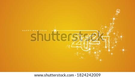 New Year 2021 line design firework champagne shining white orange yellow vector