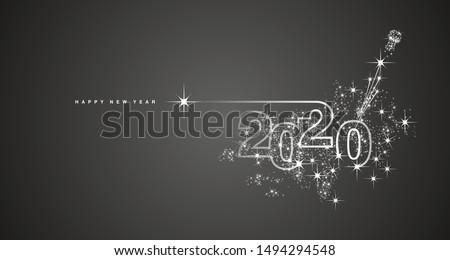 New Year 2020 line design firework champagne white black vector